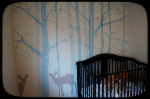woodland nursery mural