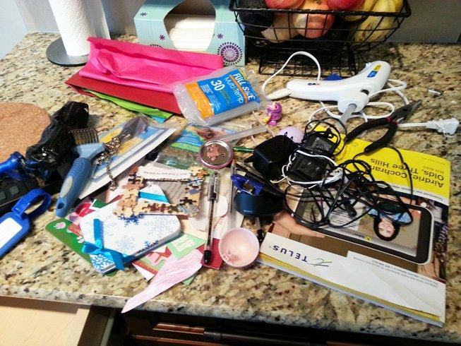 junk drawer mess
