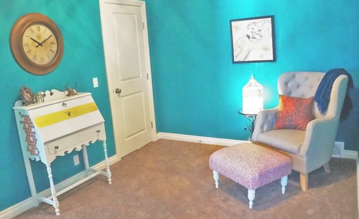 teal walls with white accents