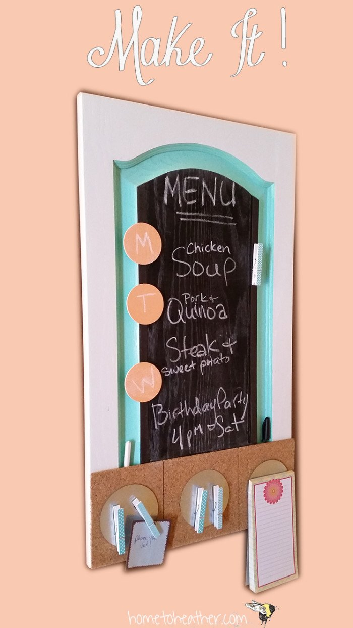 This DIY Home Command Center is made of an Up-Cycled cabinet door! It features chalkboard paint, cork board and magnets to make staying organized easy and effortless. Use it for your menu plan and to keep your kitchen island tidy. #DIY #upcycle #chalkboard #memoboard