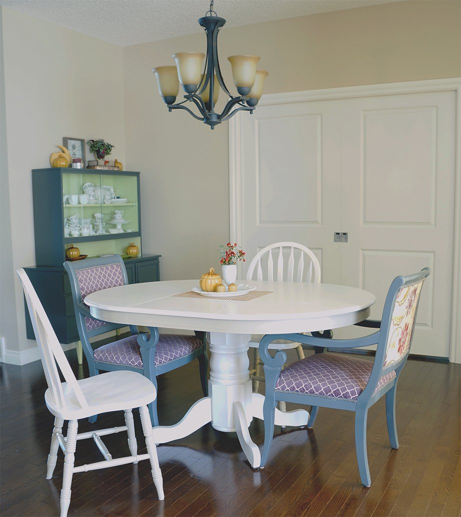 repainted pedestal table