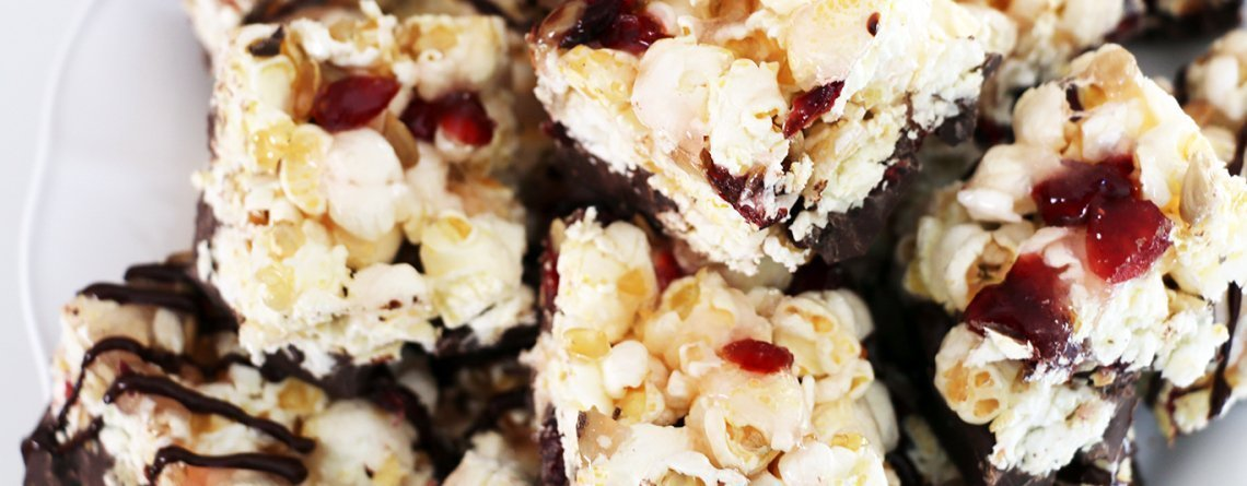 Holiday Candied Popcorn Bars