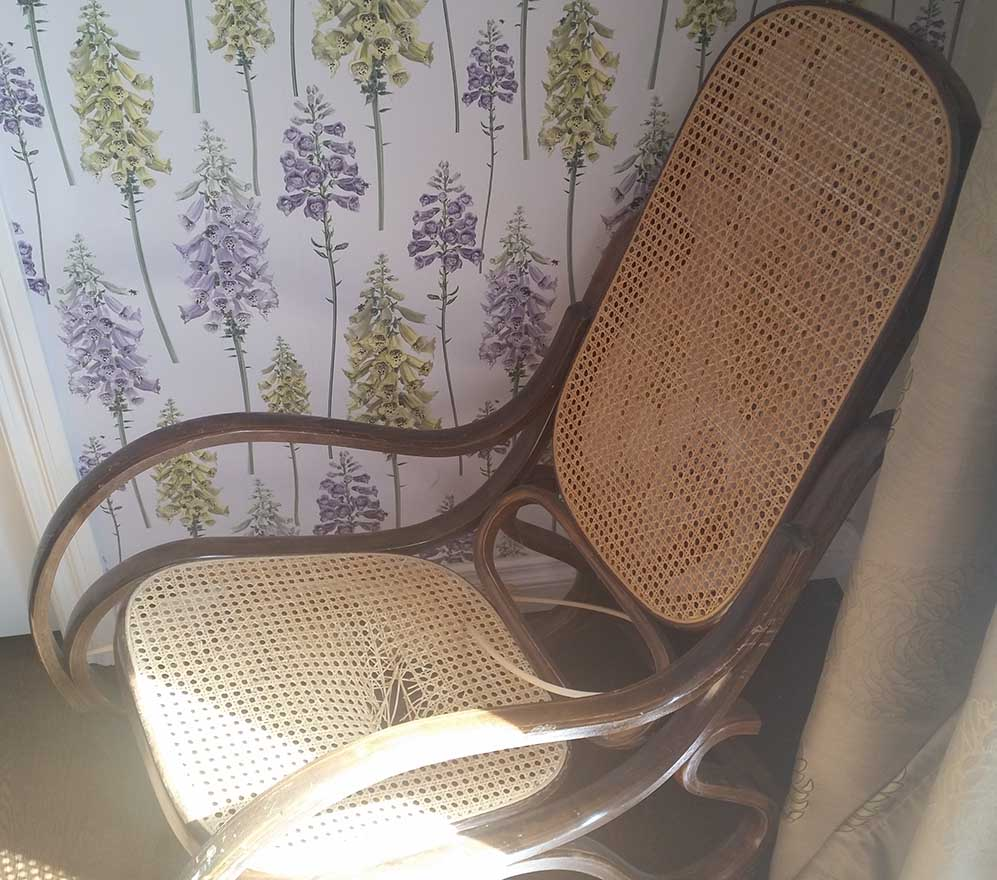 Thonet Bentwood Rocker Hole In Cane