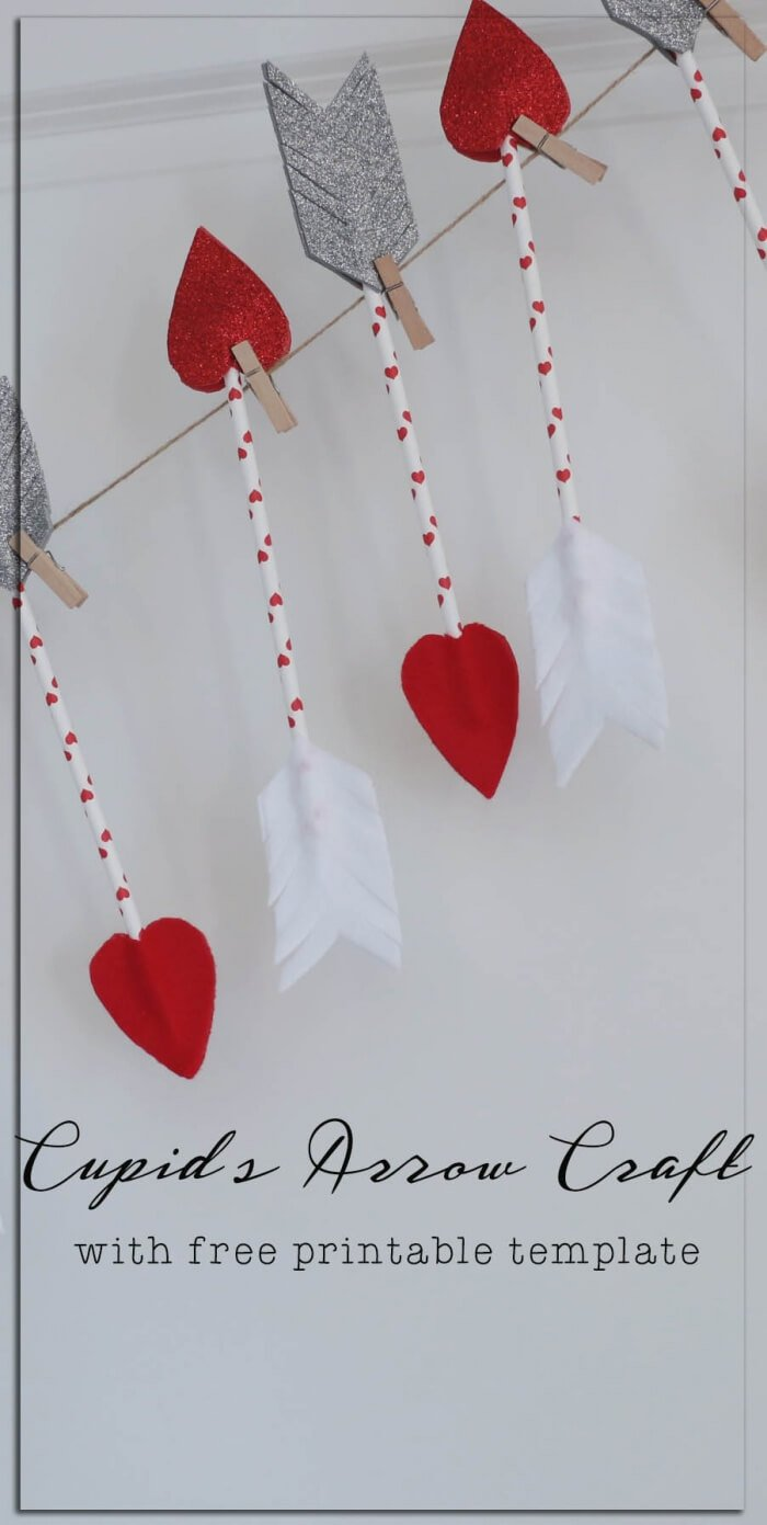 Easy cupid's arrow valentine's day craft - no glue required!