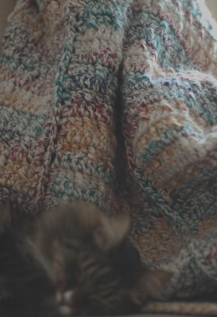Lions brand HBC yarn crochet blanket