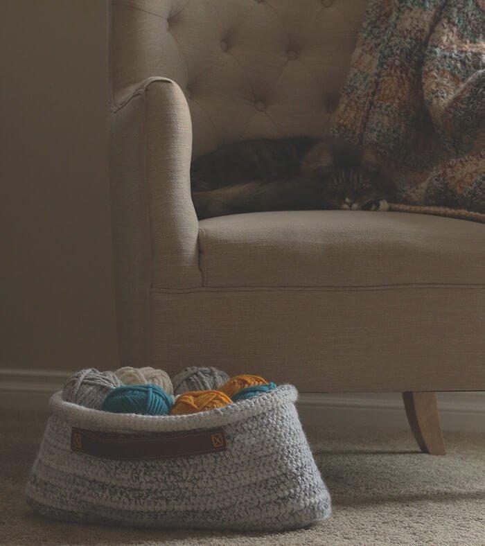 crochet basket and blanket