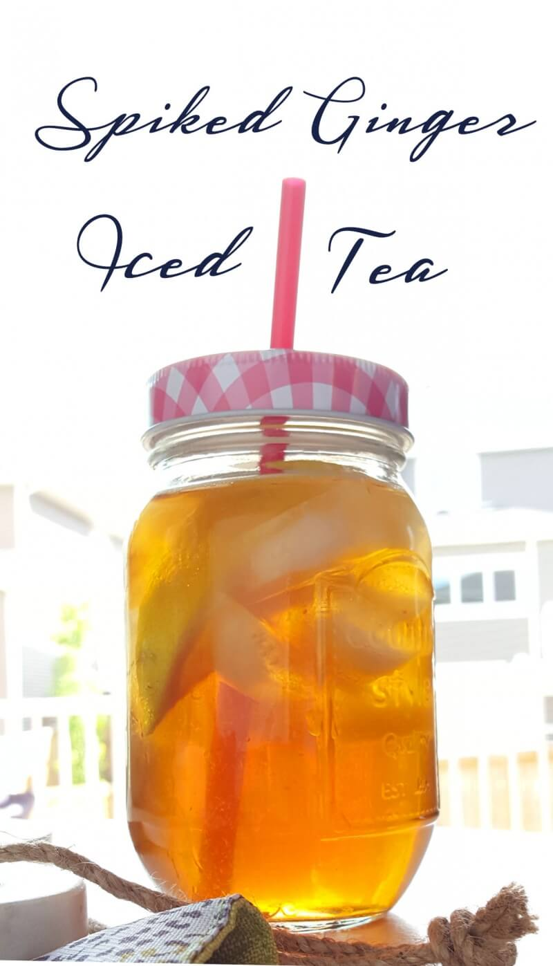 Spiked Iced Tea with Gingerale and Lemon - perfect for a hot day!