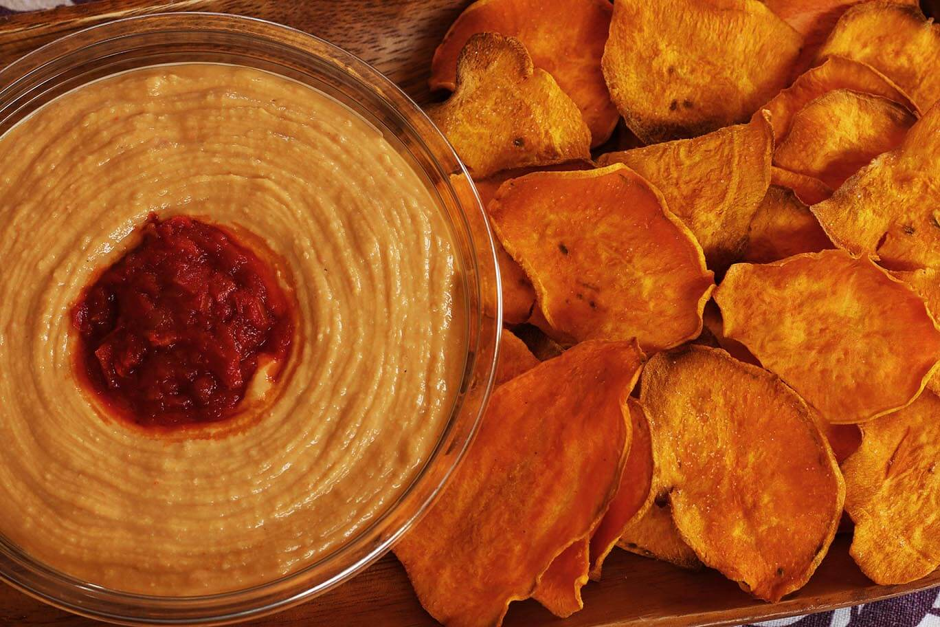 oven-roasted-sweet-potato-chips-and-hummus