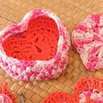 Crochet Heart Shaped Box of Face Scrubbies