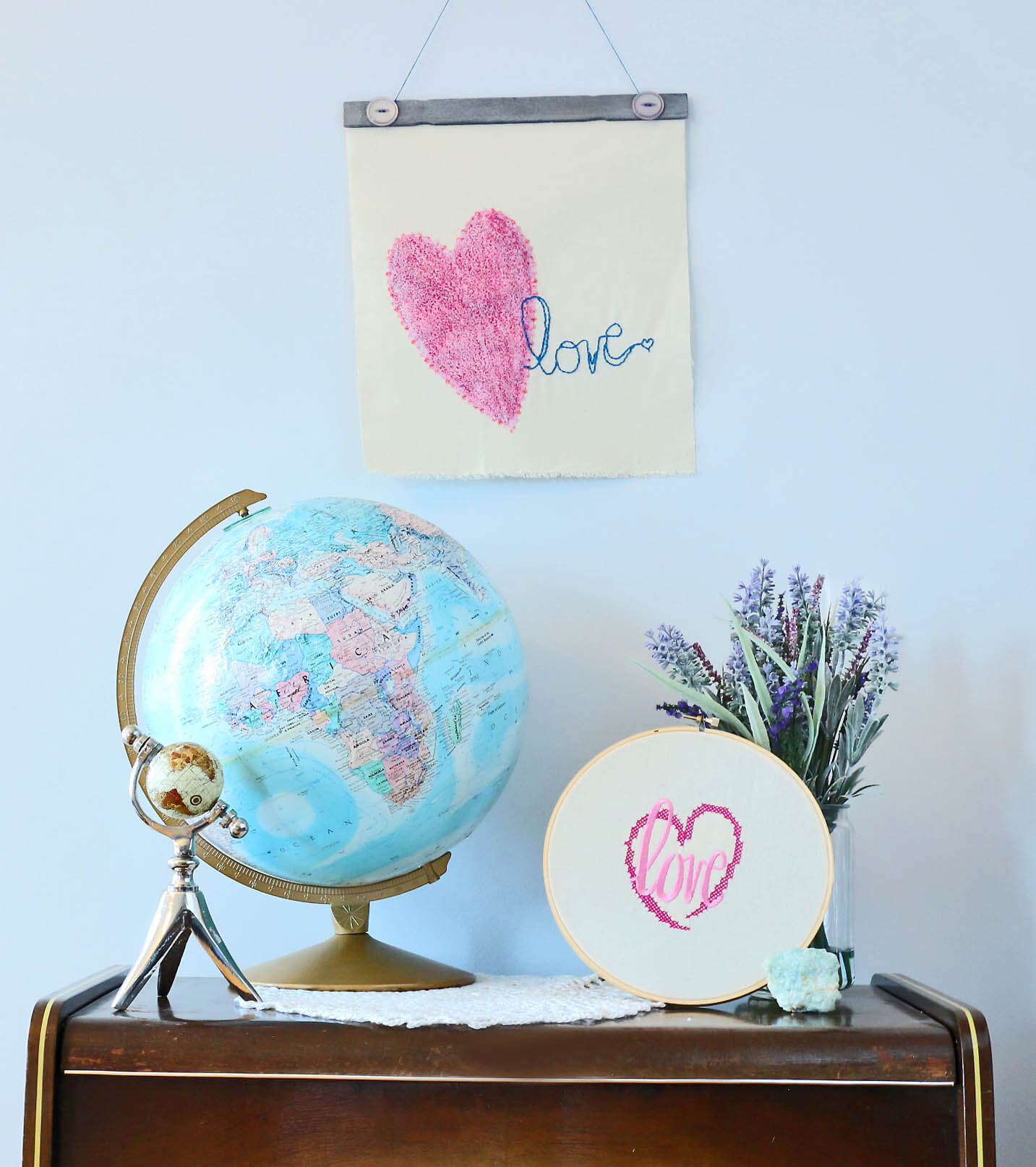 Two Lovey Dovey Embroidery Projects for Valentine's Day