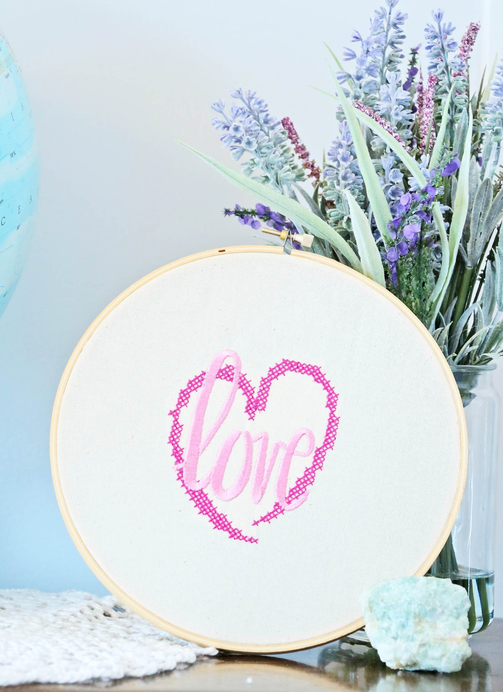 DIY Valentine's Embroidery Hoop Art