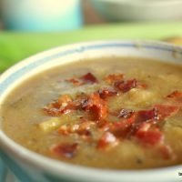 Potato, Cauliflower, Leek Soup with Bacon
