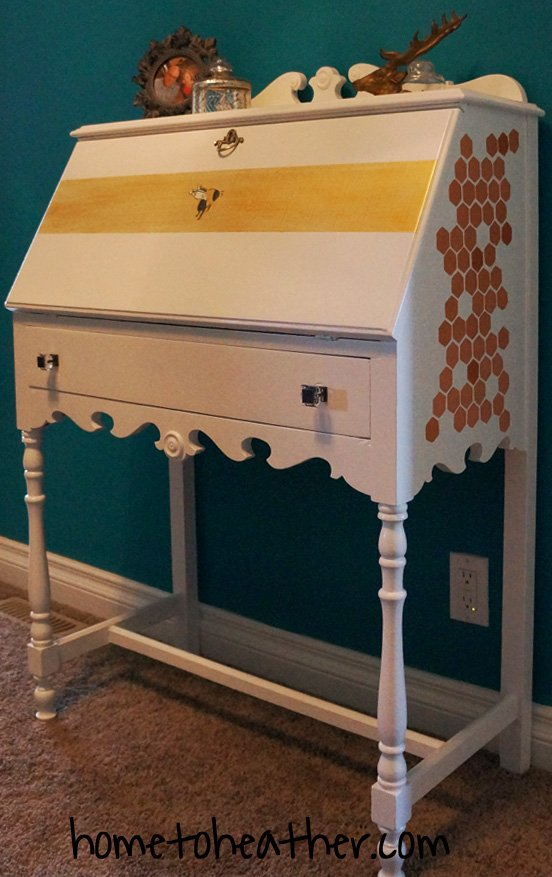 hand painted secretary desk