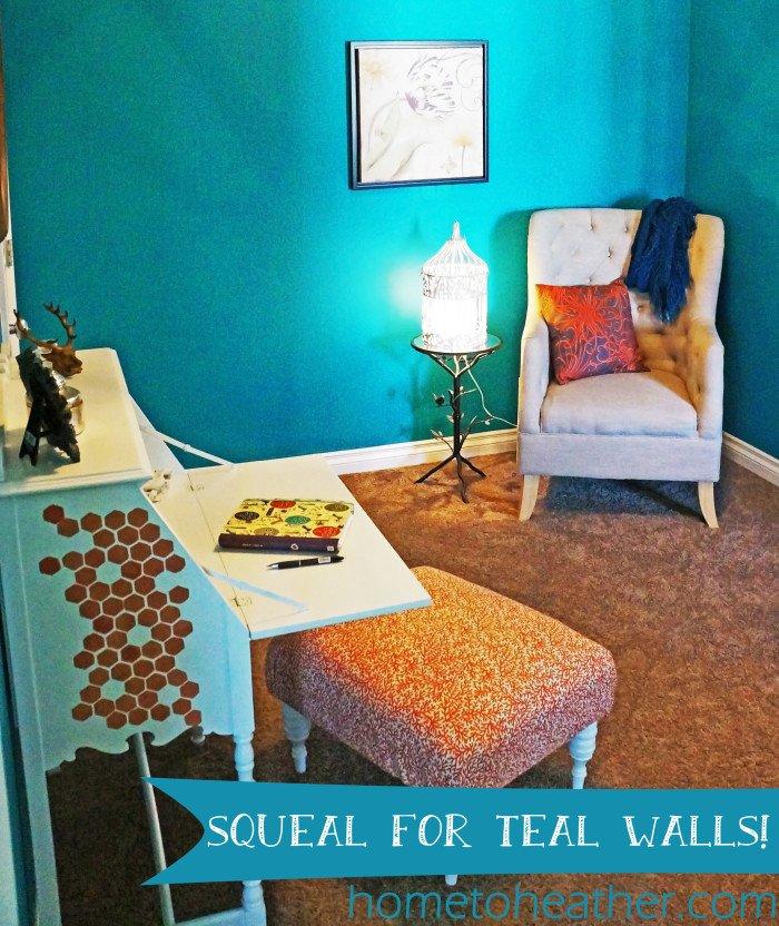 honeycomb and teal walls