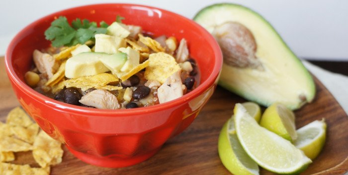 Fiesta Chicken Soup with Corn and Black Beans