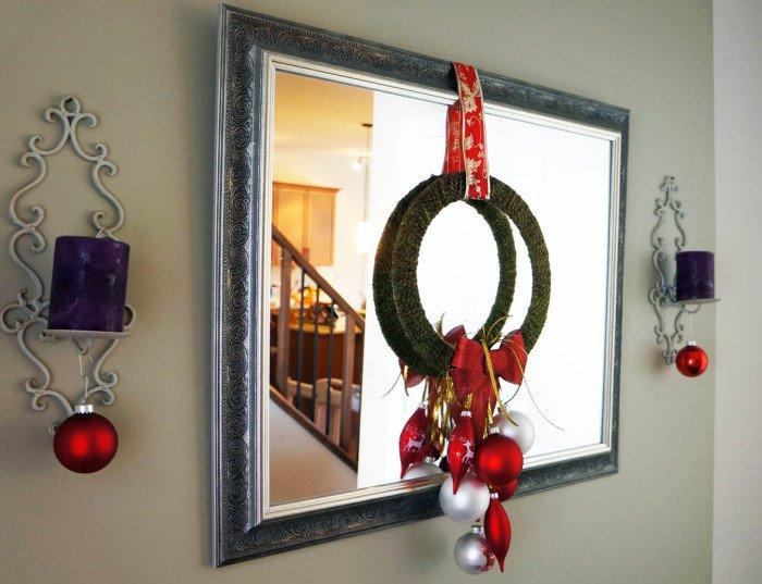 wreath on mirror