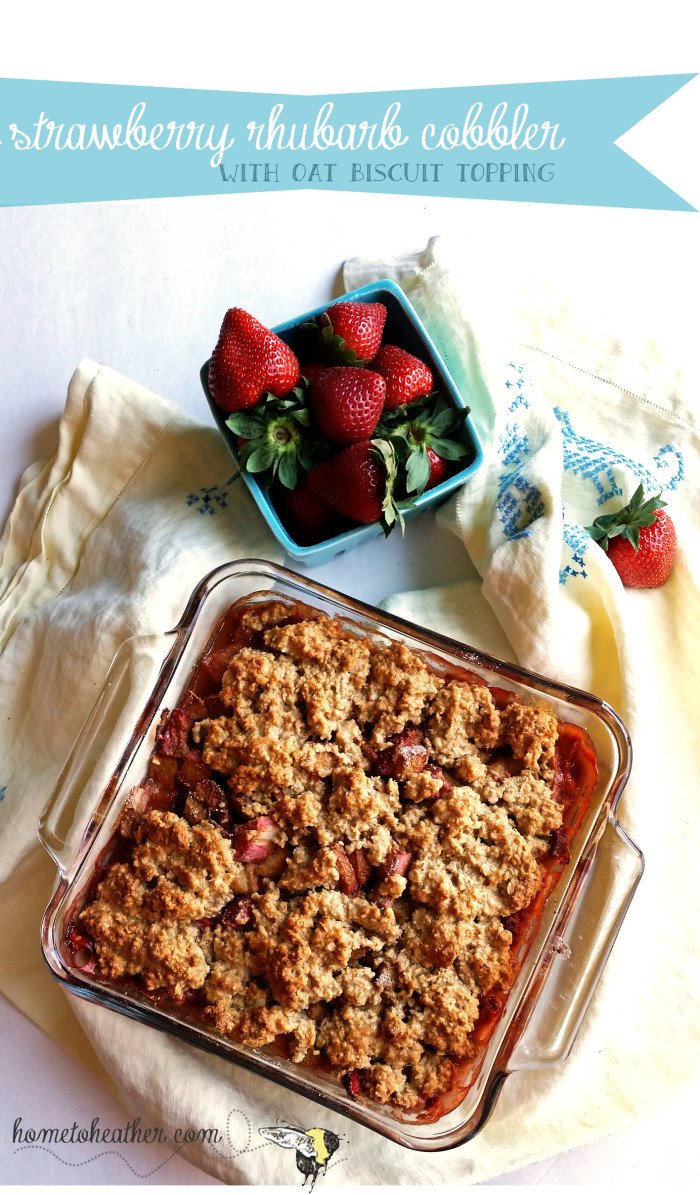 strawberry rhubarb cobbler with oat topping