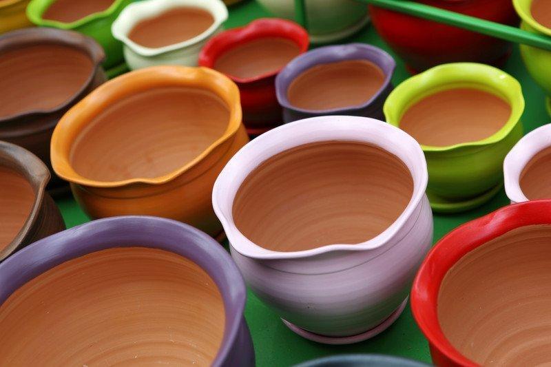 colourful flower pots