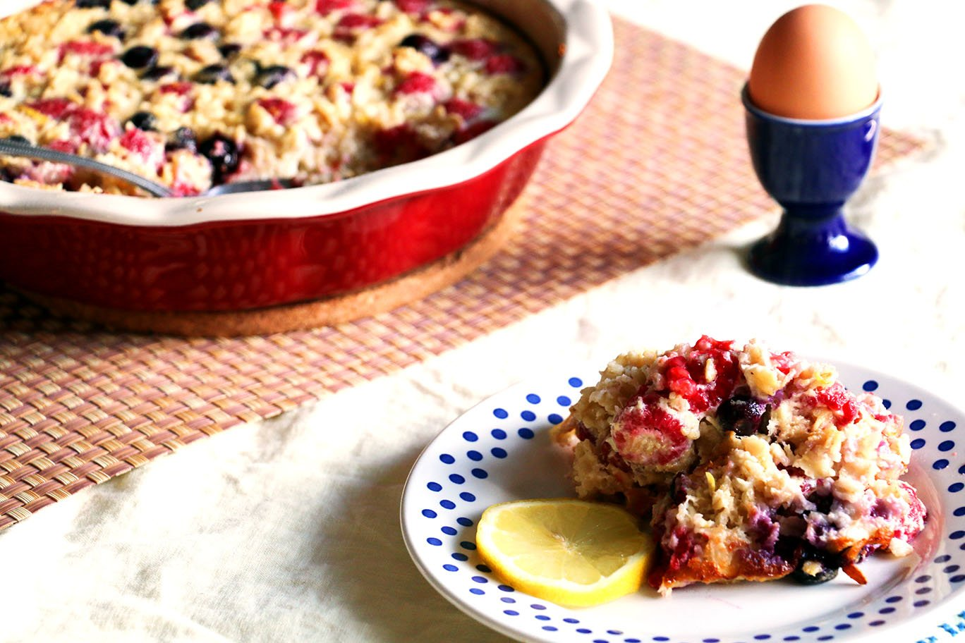 baked oatmeal raspberry lemon