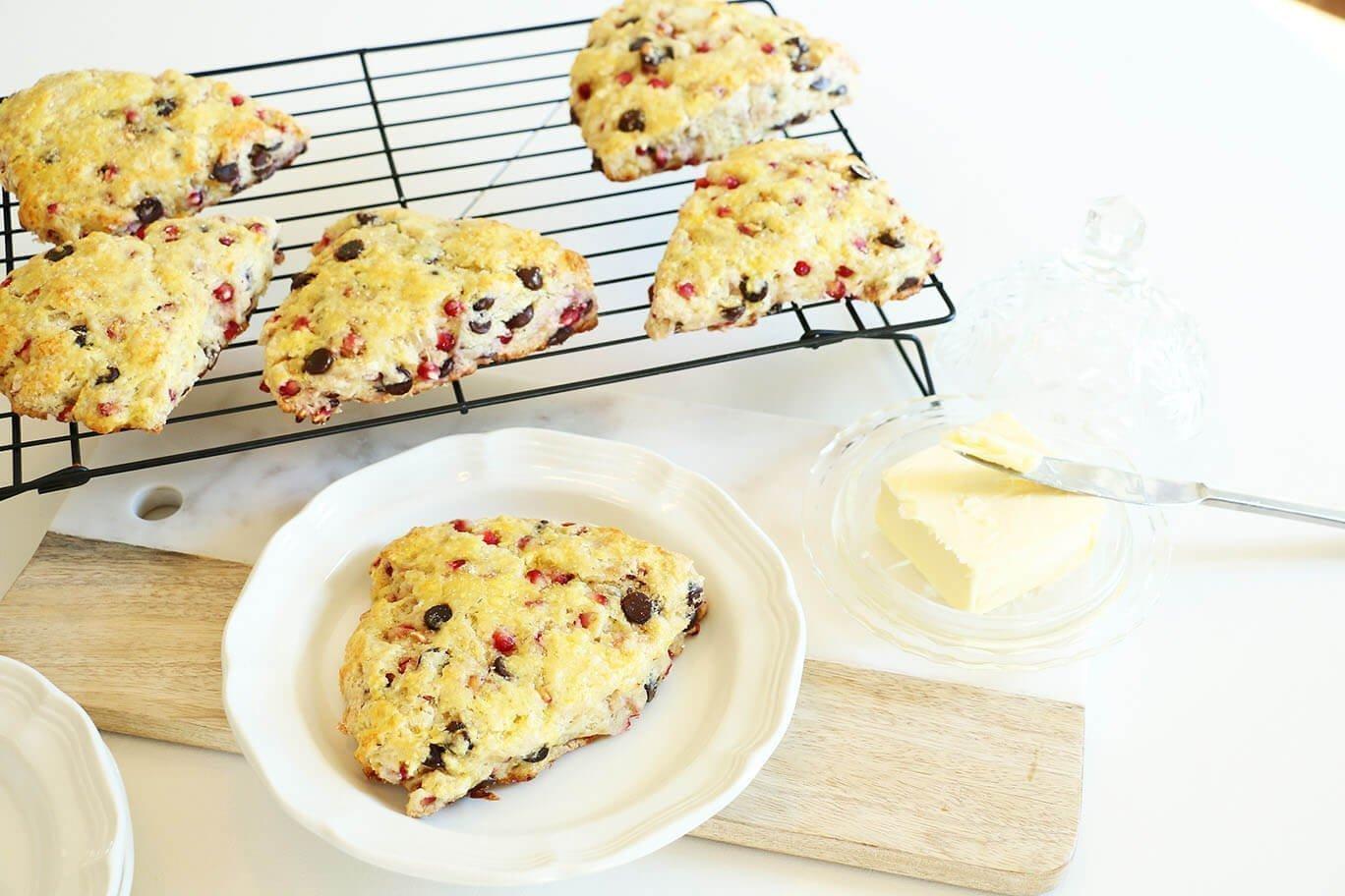 scones chocolate pomegranate