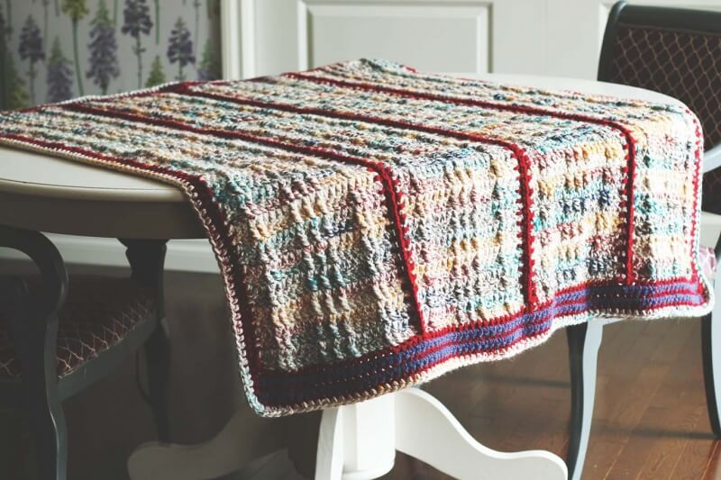faux cabled crochet blanket pattern