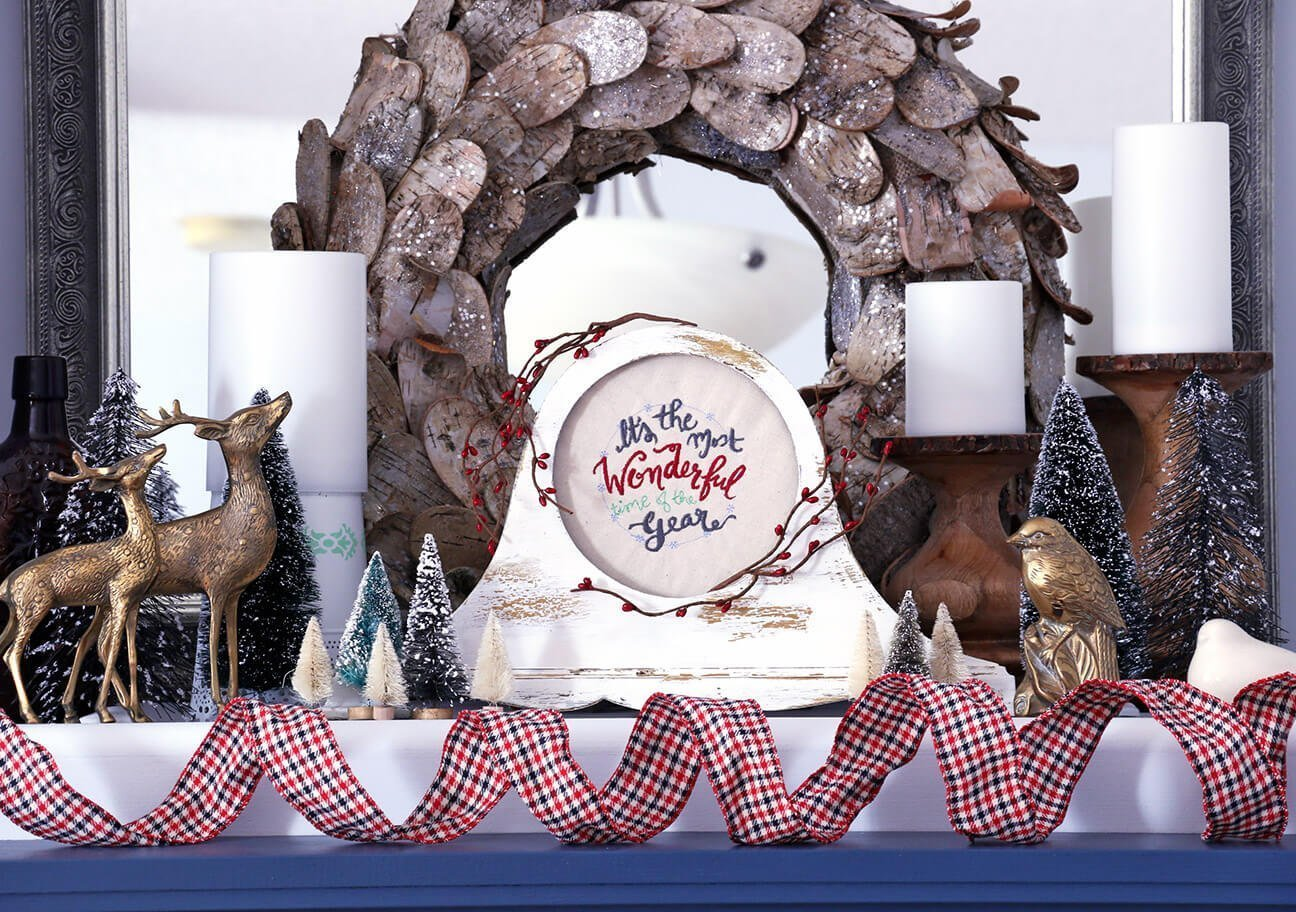 Vintage Christmas mantle display