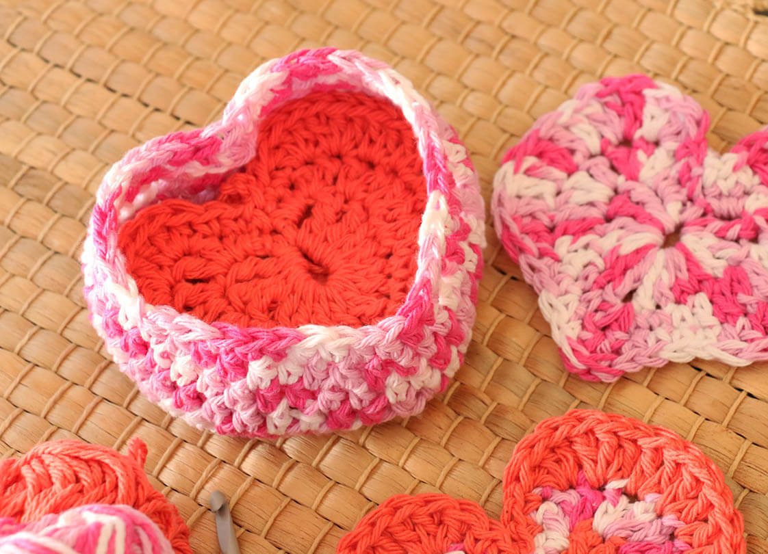 Crochet Heart Shaped Box of Face Scrubbies