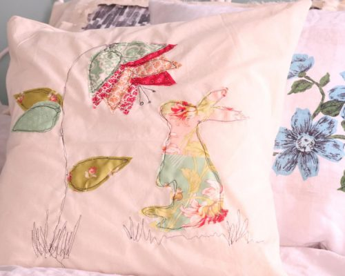 A Spring Pillow Free Motion Embroidery Applique