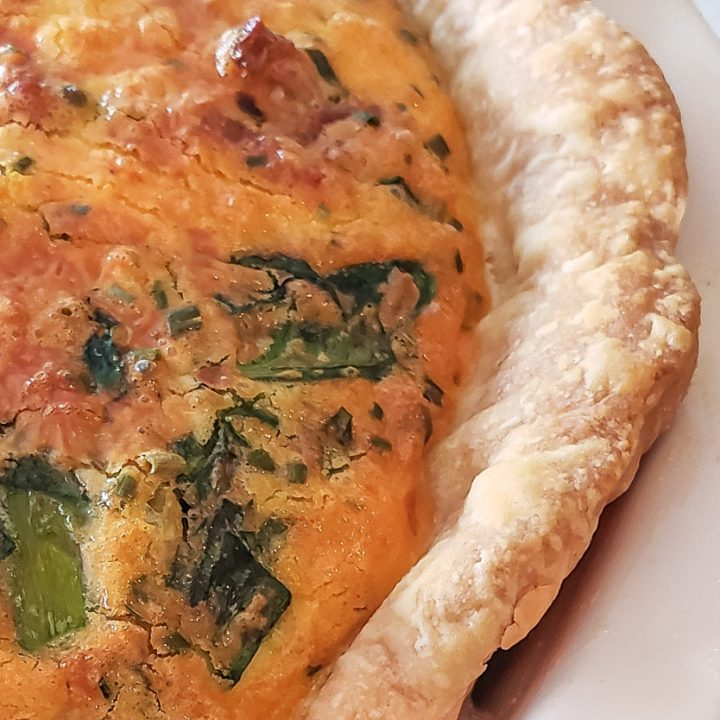 Asparagus Bacon Spinach Quiche with Homemade Crust